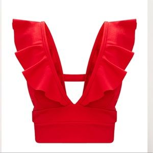 9cde61b7132e7b Pretty Little Thing Tops - Pretty Little Thing Red Frill Edge Plunge Crop  Top